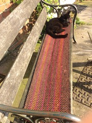 Hobo on a hand dyed wool bench runner