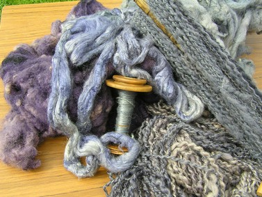 Fibres dyed with Logwood, spun and plied