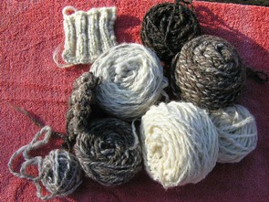 Balls of hand spun jacob fleece