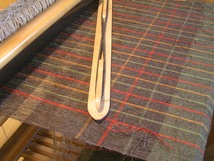 Wool fabric on a loom