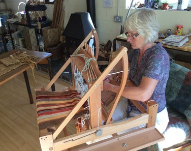 Fiona weaving in her studio